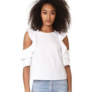 CLUB MONACO | Hamisi White Ruffle Cut Out Blouse